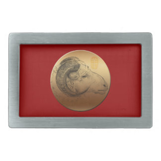 Golden Ram Year - Chinese Astrology Belt Buckle
