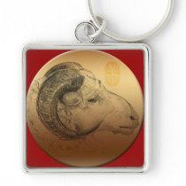 Golden Ram Year Chinese Astrology Zodiac Keychain