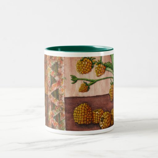 golden raspberry stamping limited edition coffee mug