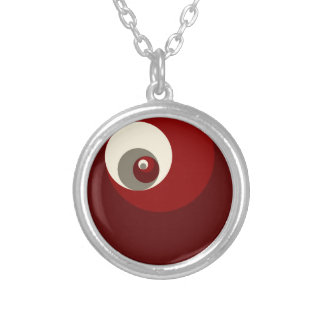 Golden Ratio Circles (Red) Silver Plated Necklace