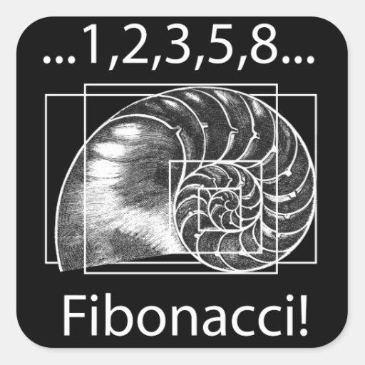 Golden Ratio, Fibonacci Spiral Square Sticker