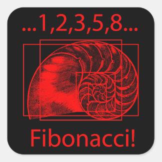 Golden Ratio Fibonacci Spiral Square Stickers