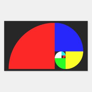Golden Ratio Fibonacci Spiral Rectangular Sticker