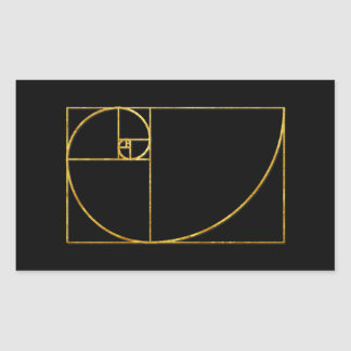 Golden Ratio Sacred Fibonacci Spiral Rectangular Sticker