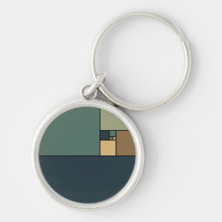 Golden Ratio Squares (Neutrals) Silver-Colored Round Keychain