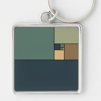Golden Ratio Squares (Neutrals) Silver-Colored Square Keychain