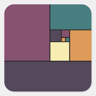 Golden Ratio Squares Square Sticker