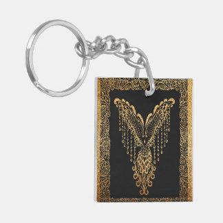 Golden raven keychain