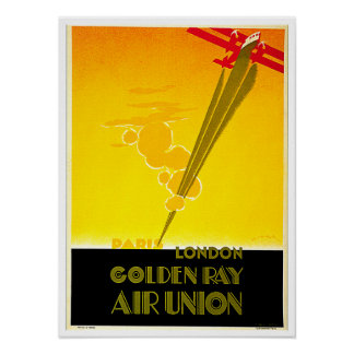 Golden Ray Vintage Paris London Travel Ad Poster