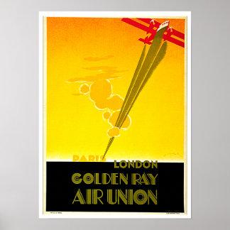 Golden Ray Vintage Paris London Travel Ad Print
