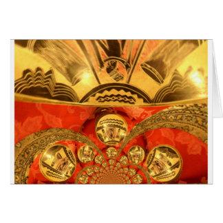 Golden red African art Card
