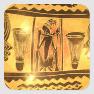 Golden Red African Drummers Square Sticker