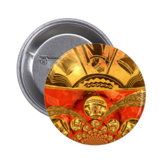 Golden red African traditional art Button