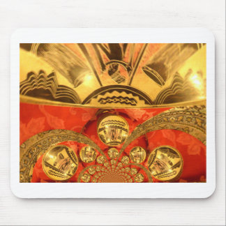 Golden red African traditional art Mouse Pad