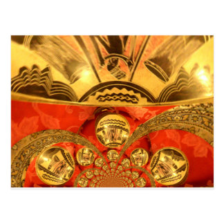 Golden red African traditional art Postcard