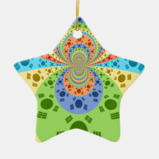Golden Red African Traditional Colors Double-Sided Star Ceramic Christmas Ornament