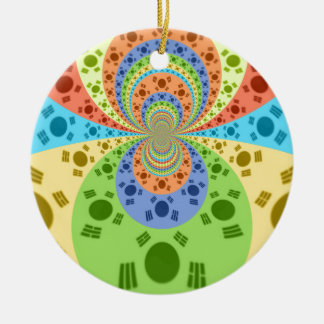 Golden Red African Traditional Colors Double-Sided Ceramic Round Christmas Ornament