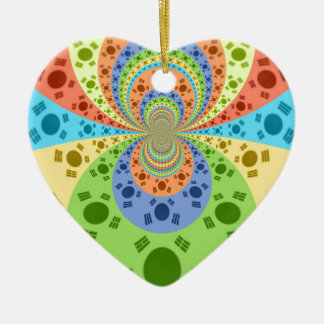 Golden Red African Traditional Colors Double-Sided Heart Ceramic Christmas Ornament