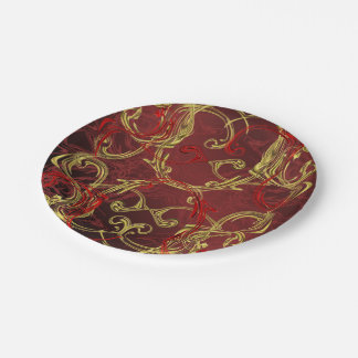 golden, red and black shiny festive colored paper plate