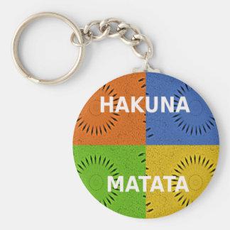 Golden Red Blue Green Hakuna Matata Basic Round Button Keychain