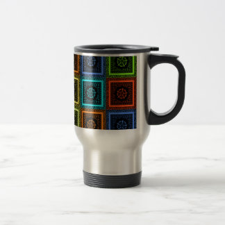 Golden Red blue Green Masai Traditional colors Travel Mug