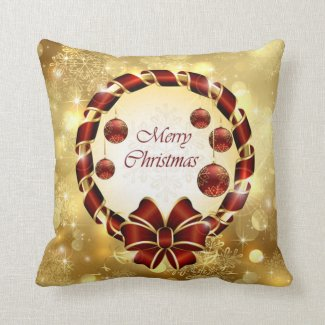 Golden & Red christmas Wreath with Bow & Snowflake Throw Pillow