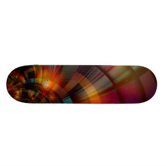 Golden Red Digital Art Deco Skateboard Deck