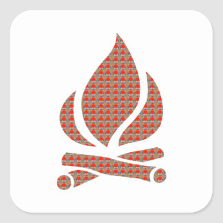 Golden RED Dots Fire Flame Energy Decoration GIFTS Square Stickers