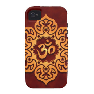 Golden Red Floral Om Design Vibe iPhone 4 Covers