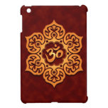 Golden Red Floral Om Design Case For The iPad Mini