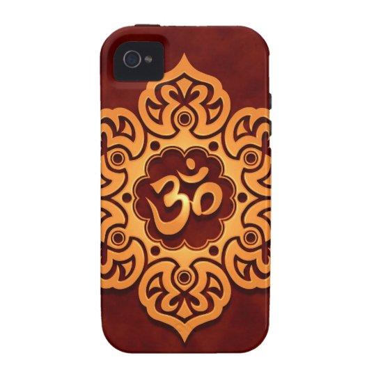 Golden Red Floral Om Design Case For The iPhone 4