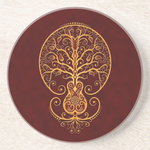 Golden Red Guitar Tree of Life Drink Coaster