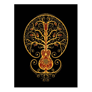 Golden Red Guitar Tree of Life on Black Post Card