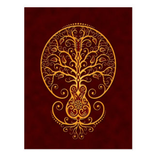 Golden Red Guitar Tree of Life Post Cards