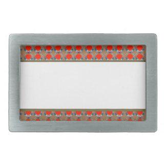 Golden RED Jewel Border: Add GREETING Text r Image Rectangular Belt Buckle