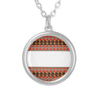Golden RED Jewel Border: Add GREETING Text r Image Round Pendant Necklace