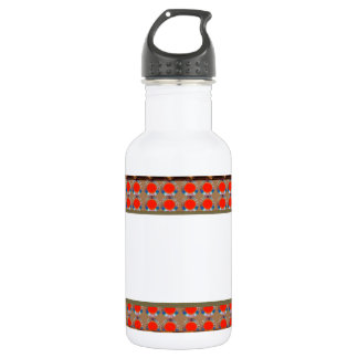 Golden RED Jewel Border: Add GREETING Text r Image Water Bottle