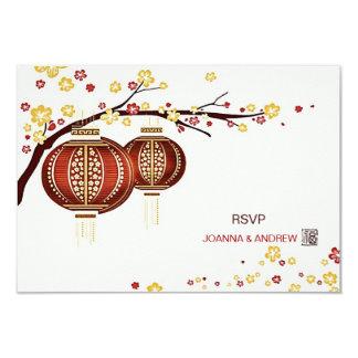 Golden Red Lanterns Cherry Tree Fu Chinese RSVP Card