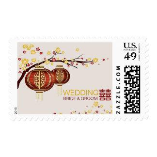 Golden Red Lanterns Cherry Tree Xi Chinese Wedding Stamp