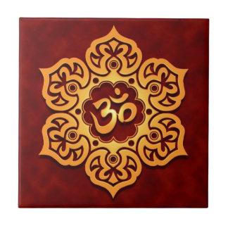 Golden Red Lotus Flower Om Ceramic Tile