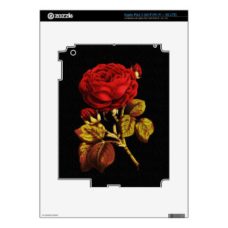 Golden Red Painted Rose Decal For iPad 3