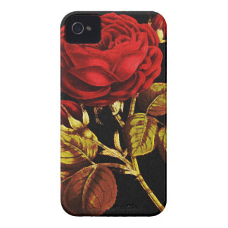 Golden Red Painted Rose iPhone 4 Cases