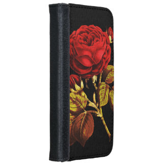 Golden Red Painted Rose iPhone 6/6s Wallet Case
