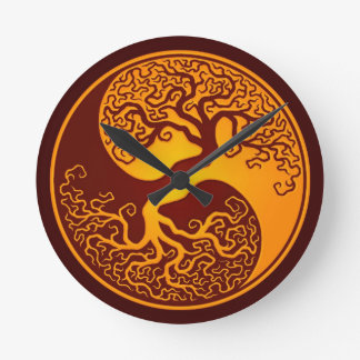 Golden Red Tree of Life Yin Yang Round Clock