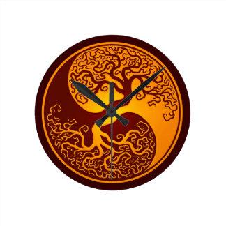 Golden Red Tree of Life Yin Yang Round Clock