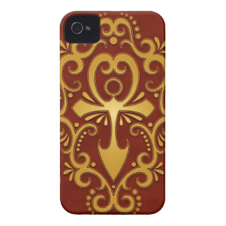 Golden Red Tribal Ankh iPhone 4 Case-Mate Cases