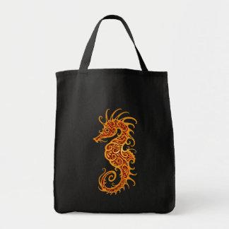 Golden Red Tribal Seahorse Bag