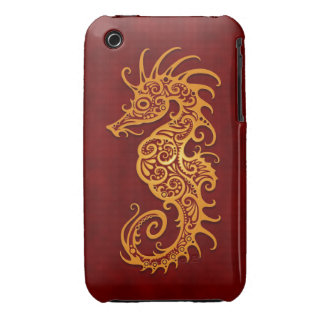 Golden Red Tribal Seahorse iPhone 3 Case-Mate Case