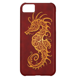 Golden Red Tribal Seahorse Cover For iPhone 5C