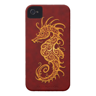 Golden Red Tribal Seahorse iPhone 4 Case-Mate Cases